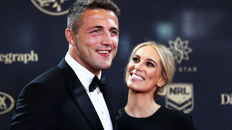 Sam Burgess and wife Phoebe, pictured here at the 2016 Dally M Awards.