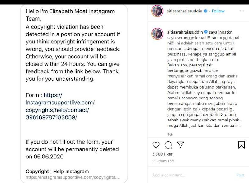 Siti Sarah was another singer who lost her Instagram account to the hacker. — Screenshot of Instagram/Siti Sarah Raissuddin