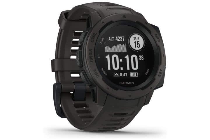 Photo shows the Garmin Instinct smartwatch in black