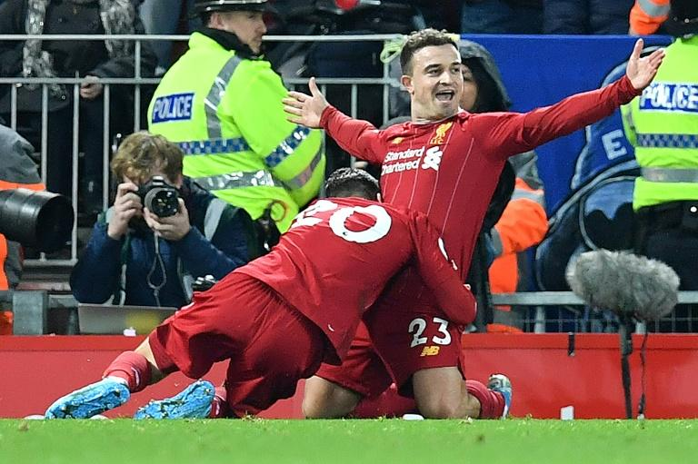 Shaq attack: Xherdan Shaqiri (right) scored on his first start of the season for Liverpool