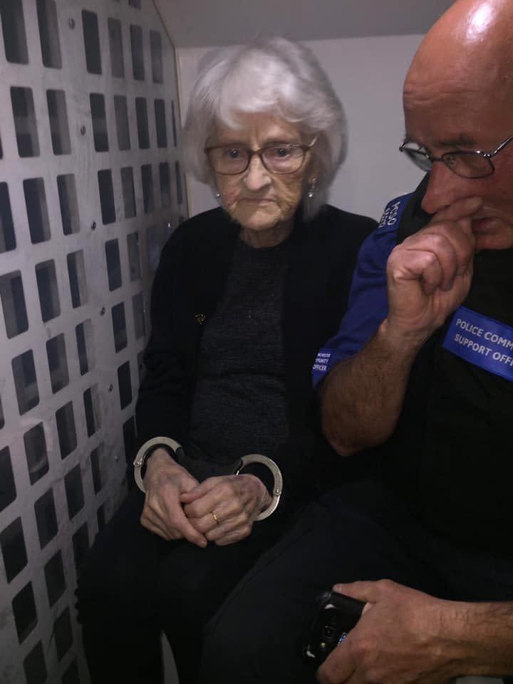 Josie Bird was taken away to the police station in handcuffs. Source: Twitter