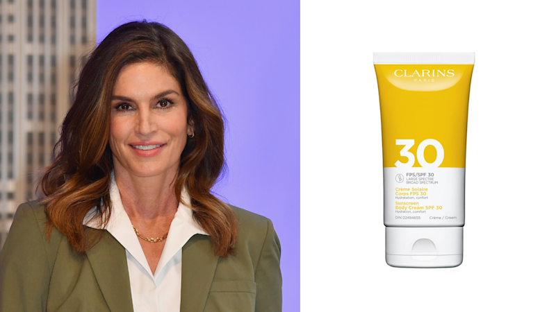 Clarins Sunscreen Body Cream SPF 30. Images via Getty, Clarins.