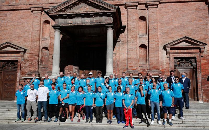 The 180km relay race ran between the towns of Codogno and Vo' in northern Italy - AP