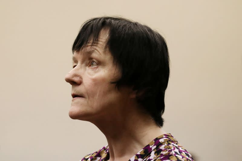 FILE PHOTO: Britta Nielsen, a Danish woman accused of embezzling 117 million crowns ($17 million) of Danish government funds, looks on during her appearance at Randburg Magistrates Court, South Africa
