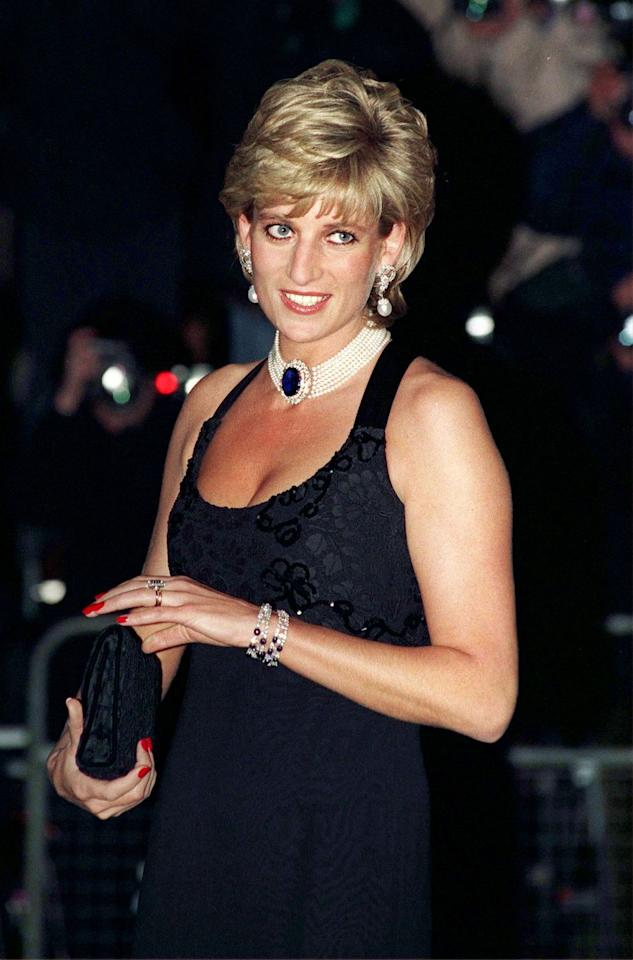 """<p>This jaw-dropping gem brooch was truly fit for a queen, as it belonged to Queen Mary. Diana had this diamond-and-sapphire brooch converted into a necklace with a seven-strand pearl choker, and it remained one of few statement jewelry pieces that she wore through and after her divorce. She most famously paired the necklace with the """"revenge dress"""" she wore the night Prince Charles announced his affair. </p>"""