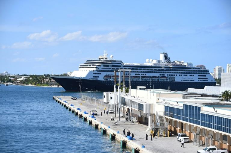 The cruise ship Zaandam is seen here as it prepares to dock at Port Everglades in Fort Lauderdale, Florida