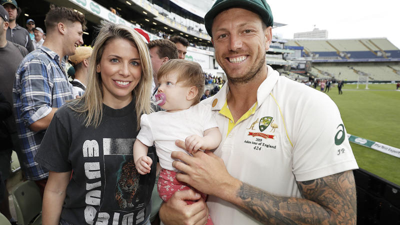 James Pattinson with wife Kayla and daughter Lilah after the first Ashes Test. (Photo by Ryan Pierse/Getty Images)