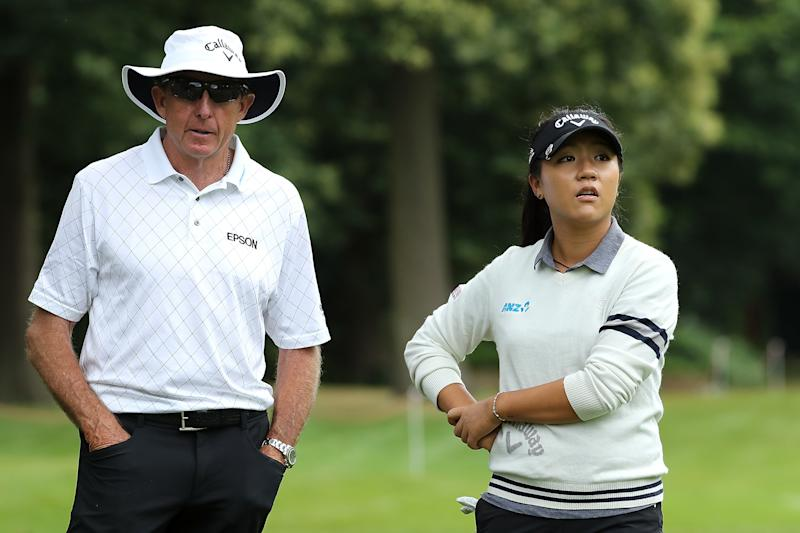 WOBURN, ENGLAND - JULY 26: Lydia Ko of New Zealand is watched by her Coach David Leadbetter during a Pro-Am round ahead of the Ricoh Women's British Open at Woburn Golf Club on July 26, 2016 in Woburn, England. (Photo by David Cannon/Getty Images)