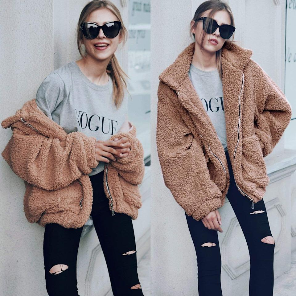 "<p>This <product href=""https://www.amazon.com/ECOWISH-Shearling-Oversized-Outwear-Jackets/dp/B07FK12DNK/ref=sr_1_5?s=apparel&amp;ie=UTF8&amp;qid=1536956106&amp;sr=1-5&amp;nodeID=7147440011&amp;psd=1&amp;keywords=fuzzy%2Bjackets%2Bfor%2Bwomen&amp;dpID=51MGsbndSLL&amp;preST=_SY445_QL70_&amp;dpSrc=srch&amp;th=1"" target=""_blank"" class=""ga-track"" data-ga-category=""internal click"" data-ga-label=""https://www.amazon.com/ECOWISH-Shearling-Oversized-Outwear-Jackets/dp/B07FK12DNK/ref=sr_1_5?s=apparel&amp;ie=UTF8&amp;qid=1536956106&amp;sr=1-5&amp;nodeID=7147440011&amp;psd=1&amp;keywords=fuzzy%2Bjackets%2Bfor%2Bwomen&amp;dpID=51MGsbndSLL&amp;preST=_SY445_QL70_&amp;dpSrc=srch&amp;th=1"" data-ga-action=""body text link"">Ecowish Fuzzy Jacket</product> ($34) comes in all sorts of colors - it's a bestseller on Amazon.</p>"