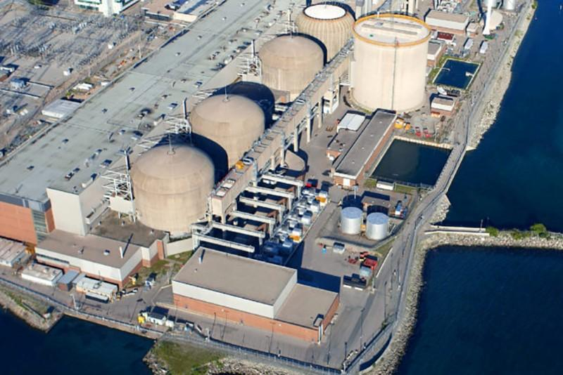 The Pickering Nuclear Generating Station is seen in an undated aerial photo near Toronto