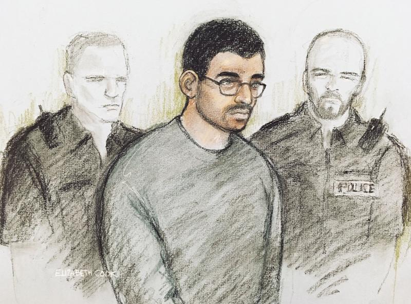 Court artist sketch of Hashem Abedi in the dock at Westminster Magistrates' Court in London, where he is appearing following his extradition from Libya. Source: Elizabeth Cook/PA Wire