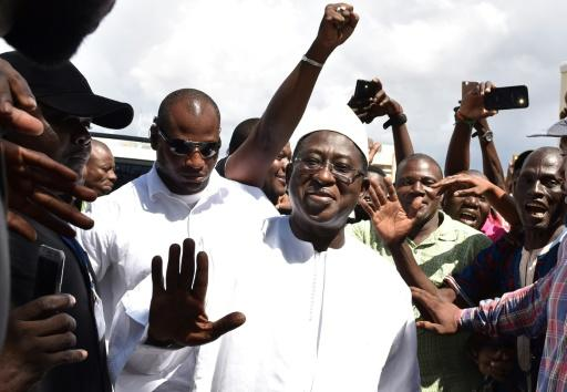 Malian Opposition leader and presidential candidate Soumaila Cisse was greeted by supporters on Monday as he arrived at his campaign headquarters