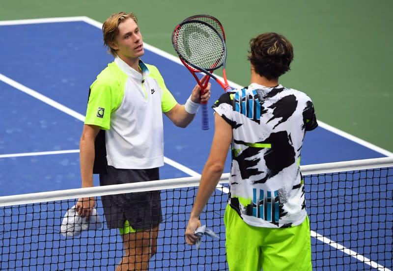 Shapovalov wins battle of young guns to reach U.S. Open last 16