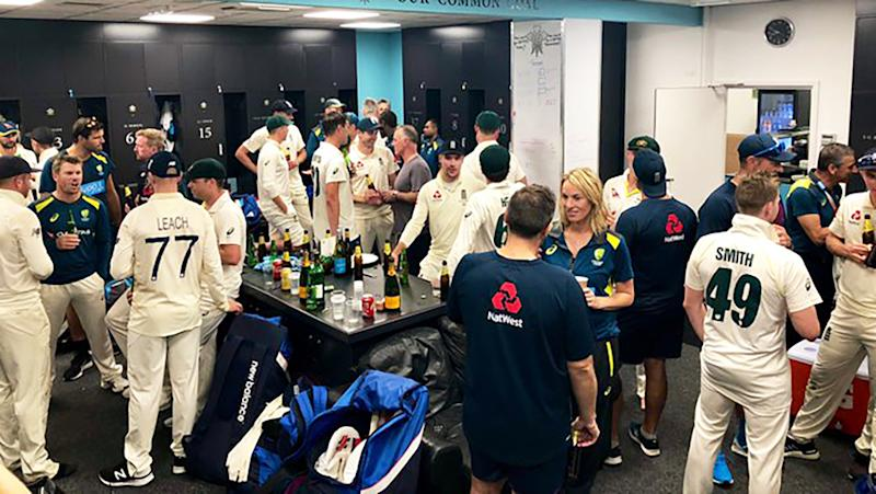 The English and Australian Test teams, pictured sharing a drink after the Fifth Test, were praised for their sportsmanship after the conclusion of the Ashes.