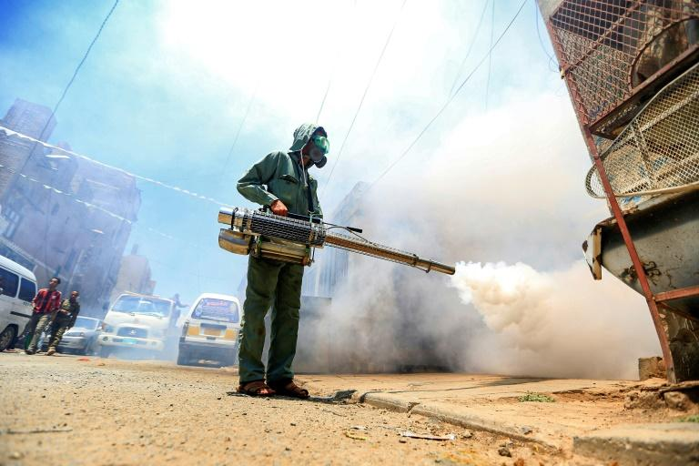 A worker fumigates a neighbourhood in Yemen's Huthi rebel-held capital Sanaa as part of safety precautions during the coronavirus pandemic on March 23