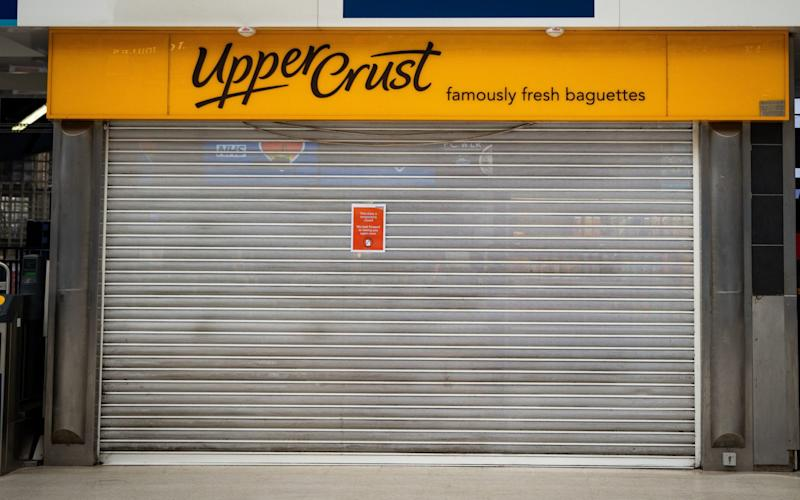 A closed Upper Crust shop at London Waterloo station - Aaron Chown/PA