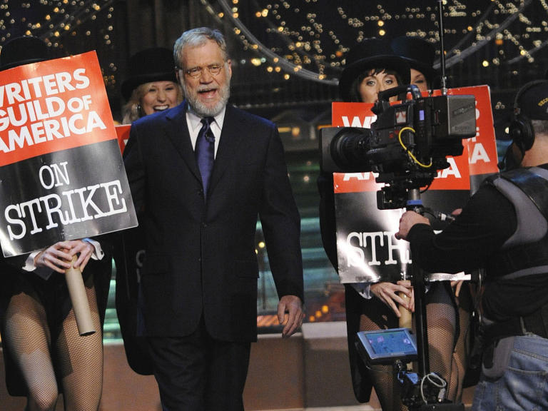20 Classic 'Late Show' Moments We're Glad We Stayed Up For: Emerging from the WGA writers' strike with a beard in 2008
