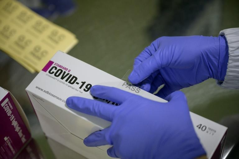 The South Korean factory makes 350,000 coronavirus test kits a day and plans to up that to a more than a million when it starts working around the clock next month