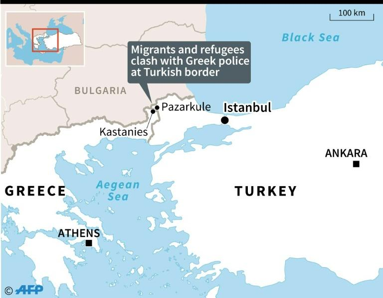 Map locating clashes between migrants, refugees and Greek police at the Turkish border, Pazarkule in Turkey and Kastanies on the Greek side of the border