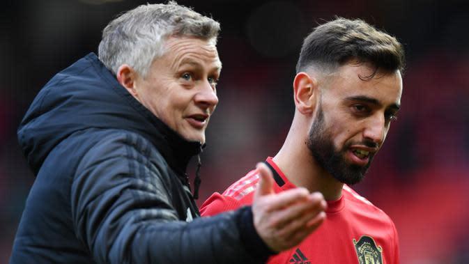 Sejak kehadiran Bruno Fernandes bersama skuat Ole Gunnar Solskjaer, Manchester United mampu mencetak 22 gol dalam sembilan laga. (AFP/Paul Ellis)
