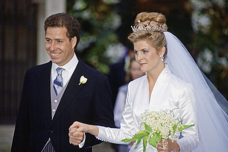 David Armstrong-Jones and Serena Stanhope at their wedding