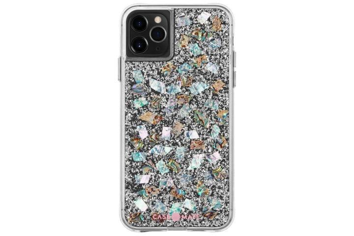 Photo shows the rear of an iPhone 11 Pro in a Mother of Pearl Karat case from Case-Mate