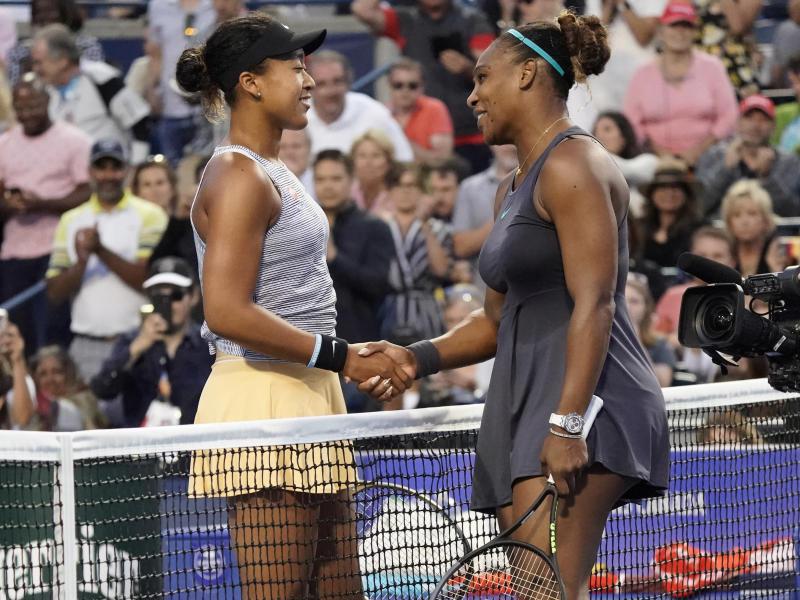 Aug 9, 2019; Toronto, Ontario, Canada; Naomi Osaka (left) congratulates Serena Williams (right) on her win during the Rogers Cup tennis tournament at Aviva Centre. Mandatory Credit: John E. Sokolowski-USA TODAY Sports
