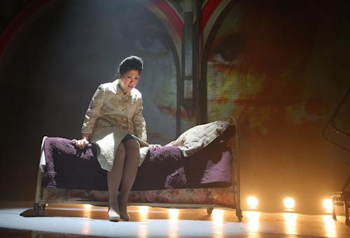 "This undated theater image released by The Public Theater shows Ruthie Ann Miles during a performance of ""Here Lies Love,"" in New York. (AP Photo/The Public Theater, Joan Marcus)"