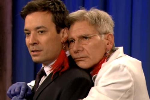 'Ender's Game's' Harrison Ford Pierces Jimmy Fallon's Ear on 'Late Night' (Video)