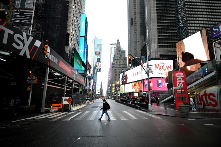 It was a glum morning in New York's Times Square, the day after Broadway shut down in a bid to halt the spread of coronavirus