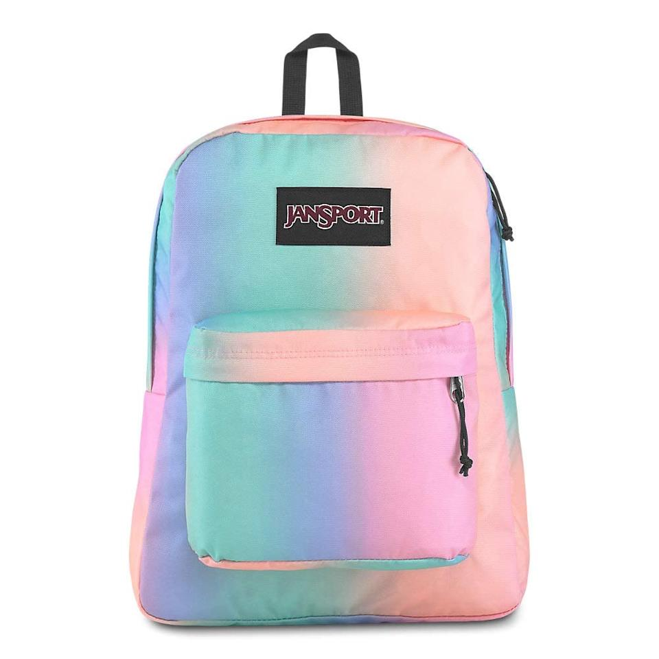 "<p>Your middle schoolers won't be able to take their eyes off this lightweight pastel <product href=""https://www.amazon.com/JanSport-Black-Label-Superbreak-Backpack/dp/B07NCBBKFP/ref=sr_1_12?crid=3QQ283QJ23TAR&amp;keywords=backpack+for+middle+school+girls&amp;qid=1563291673&amp;s=gateway&amp;sprefix=backpack+form+middle+s%2Caps%2C146&amp;sr=8-12"" target=""_blank"" class=""ga-track"" data-ga-category=""internal click"" data-ga-label=""https://www.amazon.com/JanSport-Black-Label-Superbreak-Backpack/dp/B07NCBBKFP/ref=sr_1_12?crid=3QQ283QJ23TAR&amp;keywords=backpack+for+middle+school+girls&amp;qid=1563291673&amp;s=gateway&amp;sprefix=backpack+form+middle+s%2Caps%2C146&amp;sr=8-12"" data-ga-action=""body text link"">JanSport Superbreak Backpack</product> ($34). As a much of fact, we might buy one for ourselves. </p>"