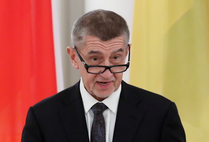 FILE PHOTO: Czech Prime Minister Andrej Babis speaks during a news conference following talks with Ukrainian President Volodymyr Zelenskiy in Kiev, Ukraine