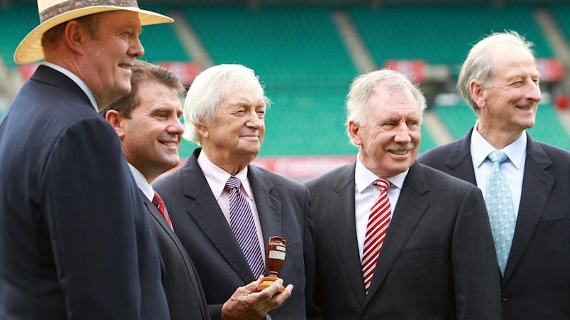 Tony Greig, Mark Taylor, Richie Benaud, Ian Chappell and Bill Lawry pictured before the 2010-11 Ashes series. Pic: Getty