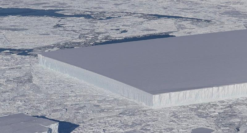 The perfectly rectangular iceberg (pictured)
