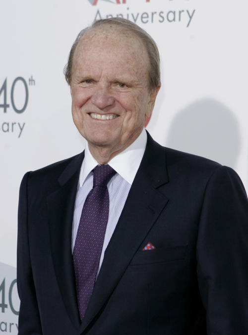 In this Oct. 2007 file photo, founding director of AFI George Stevens Jr. arrives at AFI's 40th Anniversary in Los Angeles. Hal Needham, D.A. Pennebaker, George Stevens, Jr., and Jeffrey Katzenberg will accept their Oscar statuettes at the 4th annual Governors Awards from the Academy of Motion Picture Arts and Sciences' Board of Governors at a private ceremony Saturday, Dec. 1, 2012, at the Hollywood and Highland Center, in Los Angeles. (AP Photo/Mark J. Terrill, File)