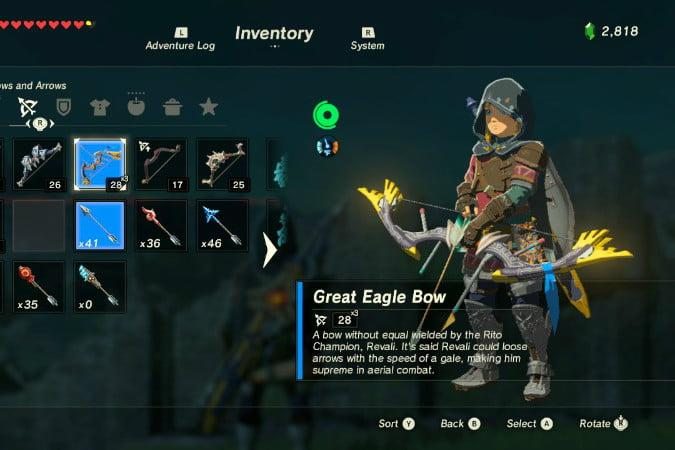 the legend of zelda breath wild best weapons eagle bow