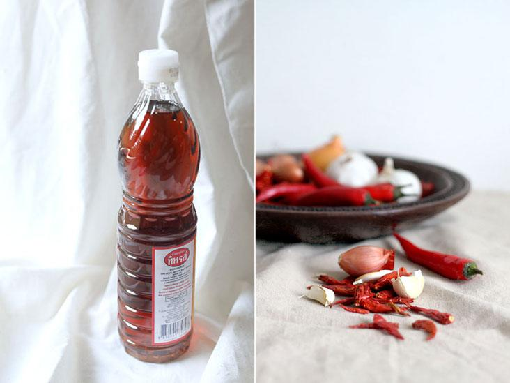 Fish sauce adds umami (left) while aromatics and chillies are the base of a good 'sambal'