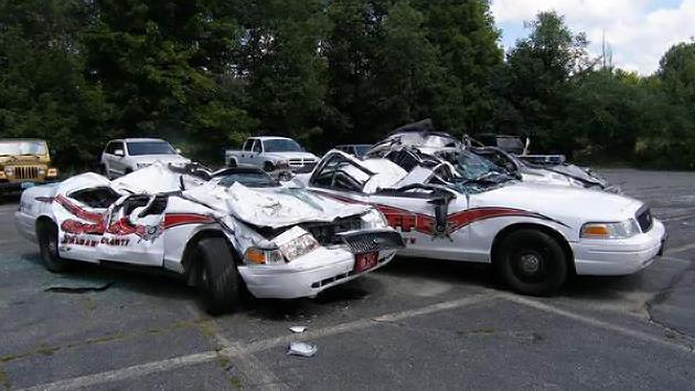 Seven cop cars crushed by tractor in Vermont man's odd rampage