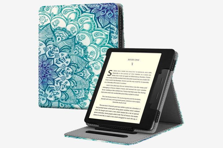 Picture of Fintie Flip Case with a swirly green and blue design on a Kindle Oasis