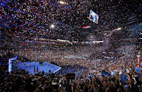 FILE - In this Sept. 6, 2012 file photo, President Barack Obama and his family and Vice President Joe Biden and his family celebrate their nominations as the confetti falls at the conclusion of the Democratic National Convention in Charlotte, N.C. Republican National Convention in Tampa, Fla. Message to convention planners: Three days are enough. Both major parties packed their presidential nominating conventions into 72 hours, one day short of the traditional four-day celebration _ prompting few complaints from either delegates or the viewing public. (AP Photo/Carolyn Kaster, File)