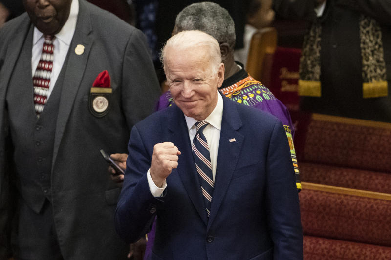 Democratic presidential candidate former Vice President Joe Biden gestures as he departs after attending services, Sunday, Feb. 23, 2020, at the Royal Missionary Baptist Church in North Charleston, S.C. (AP Photo/Matt Rourke)