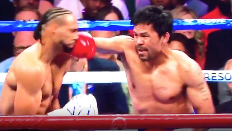 Manny Pacquiao dropped Keith Thurman in the first round.