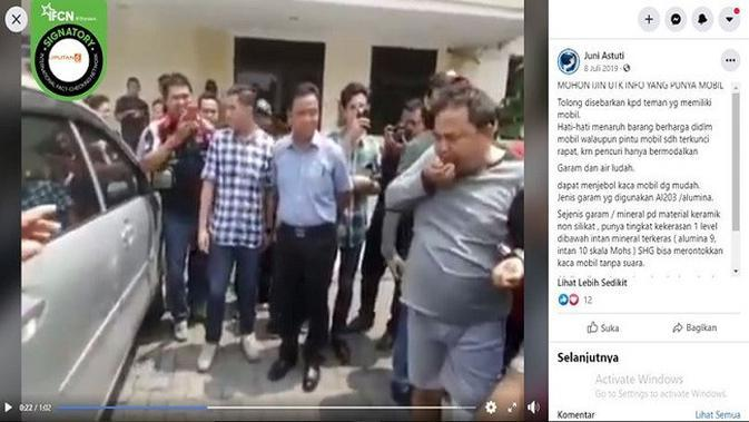 Gambar Tangkapan Layar Video Aksi Pencurian Bermodus Pecah Kaca Mobil