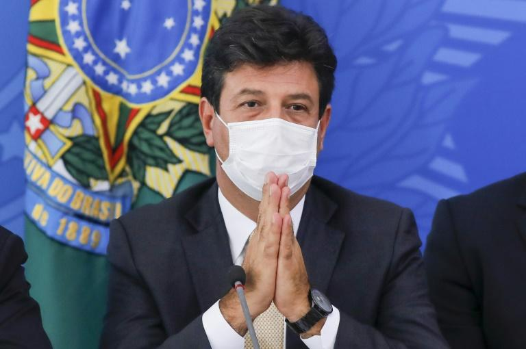 Luiz Henrique Mandetta attends a press conference on the coronavirus situation on March 18 in Brasilia