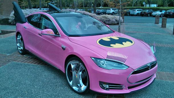 Google founder's Tesla given a pink Bat-makeover for April