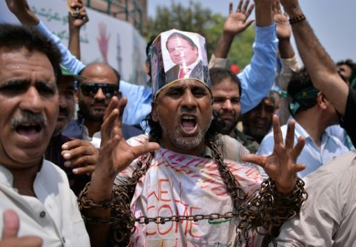 Nawaz Sharif was arrested after he landed in Lahore, where thousands had gathered in a show of support for the ex-premier