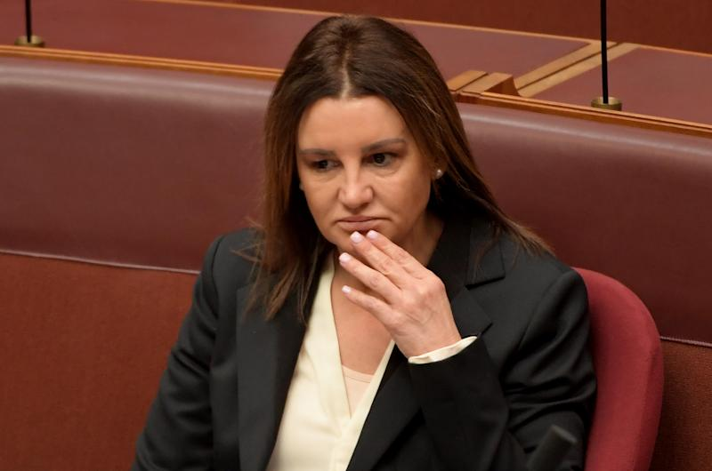 Senator Jacqui Lambie during a division in the Senate at Parliament House.