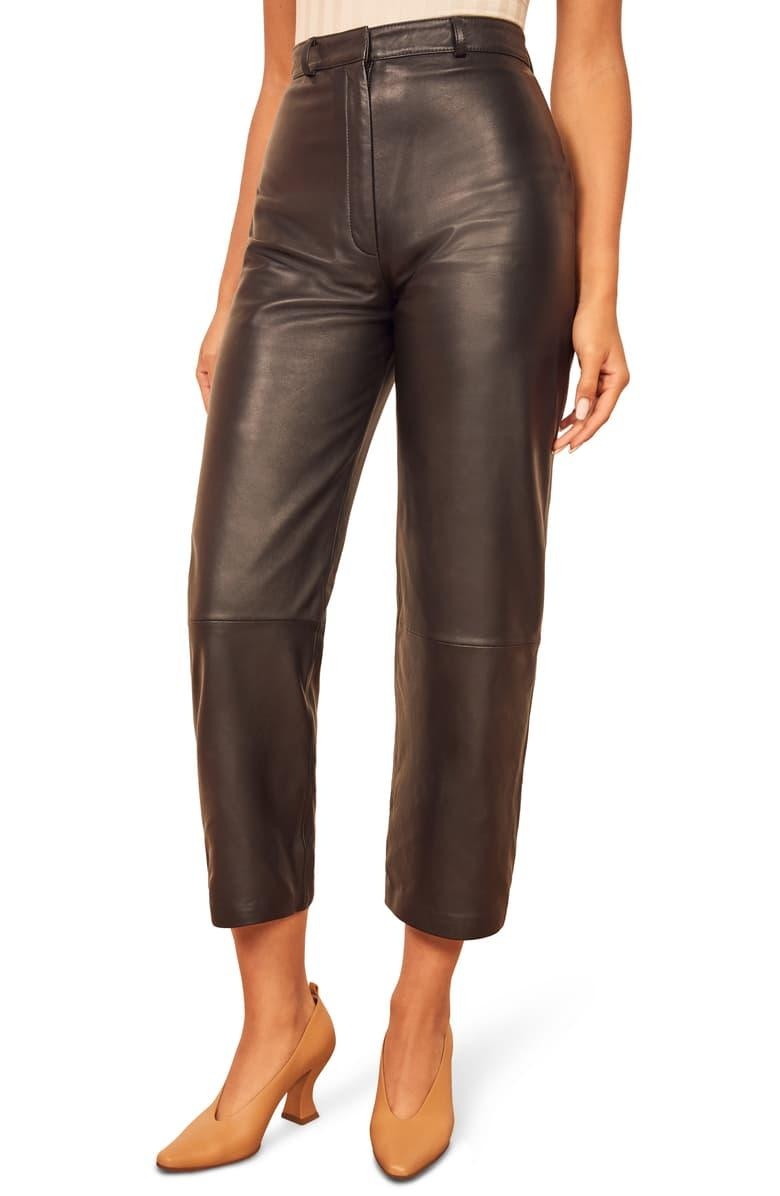 Reformation Veda Leather Crop Pants