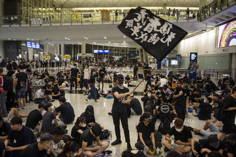 The numbers of protestors at HK airport have eventually dropped after five days. Source: AAP