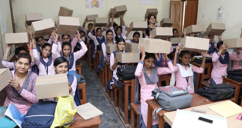 A scene from Amari Foundation's workshop, where menstrual kits are donated to school girls.